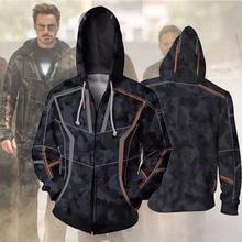Avengers Infinity War Iron Man Tony Stark Hoodie Costumes Sweatshirts Anime 3d Digital Printing Cosplay Zipper Clothing