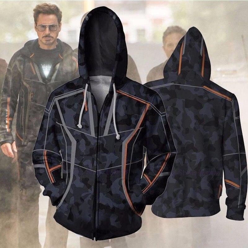 Movie Infinity War Iron Man Tony Stark Hoodie Costumes Sweatshirts Anime 3d Digital Printing Cosplay Zipper Clothing