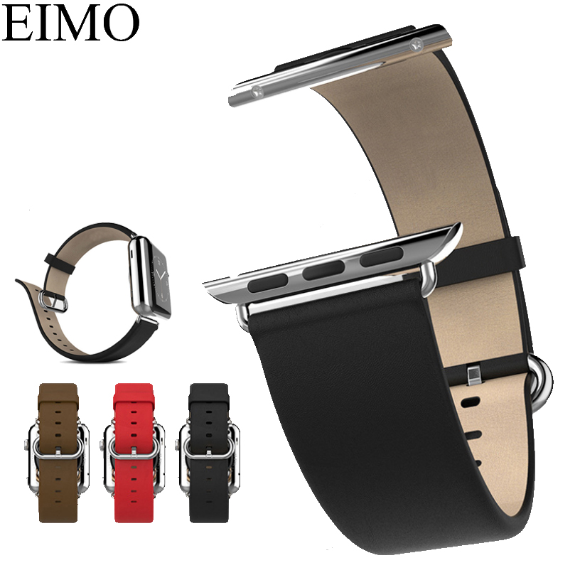 EIMO Strap for Apple Watch Band Genuine Leather 42mm 38mm Wrist Bracelet Metal Buckle Watchband Iwatch Series 3/2/1 Accessories for apple watch band leather watchband for iwatch bands 42mm 38mm series 3 2 1 butterfly buckle bracelet strap wrist accessories