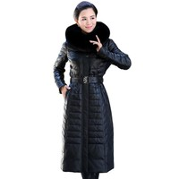 M 6XL!Extended Section Down Coat Plus Size Large Fox Fur Collar Thickening Genuine Leather Coat Sheepskin Women Outwear COATS20