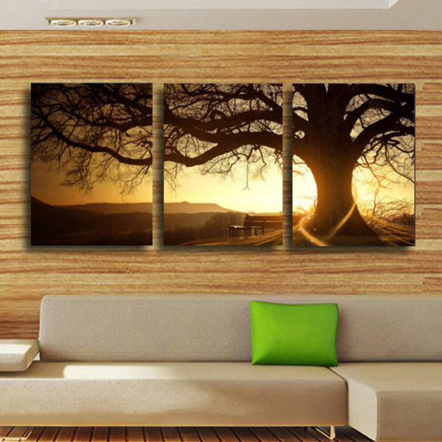 3 panel modern printed tree painting picture cuadros sunset canvas painting wall art home decor for