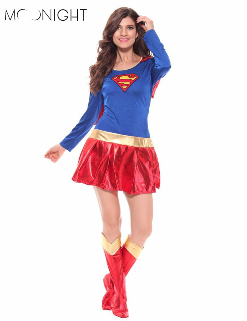 MOONIGHT Woman Superhero Adult Costume Fancy Dress Outfit Halloween Super Girl Superwoman Costume For Halloween