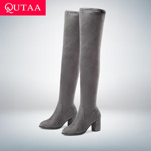 QUTAA 2019 Women High Heel Shoes Winter Boots
