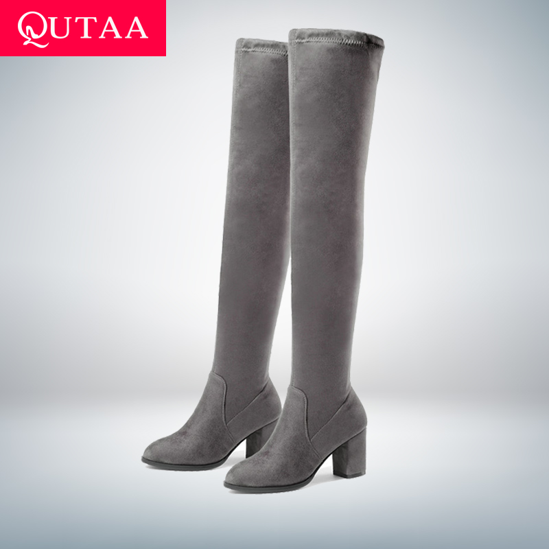 QUTAA 2019 Women Over The Knee High Boots Square High Heel