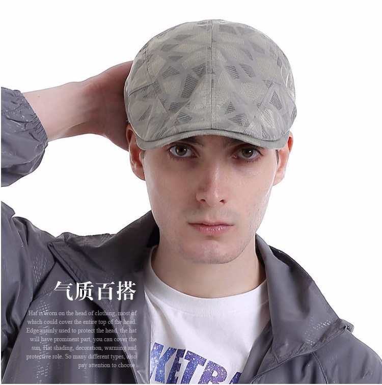 AETRENDS  2017 Retro Cap French Beret for Men Hat Quick Drying Plaid ... 5f44dcda3f28