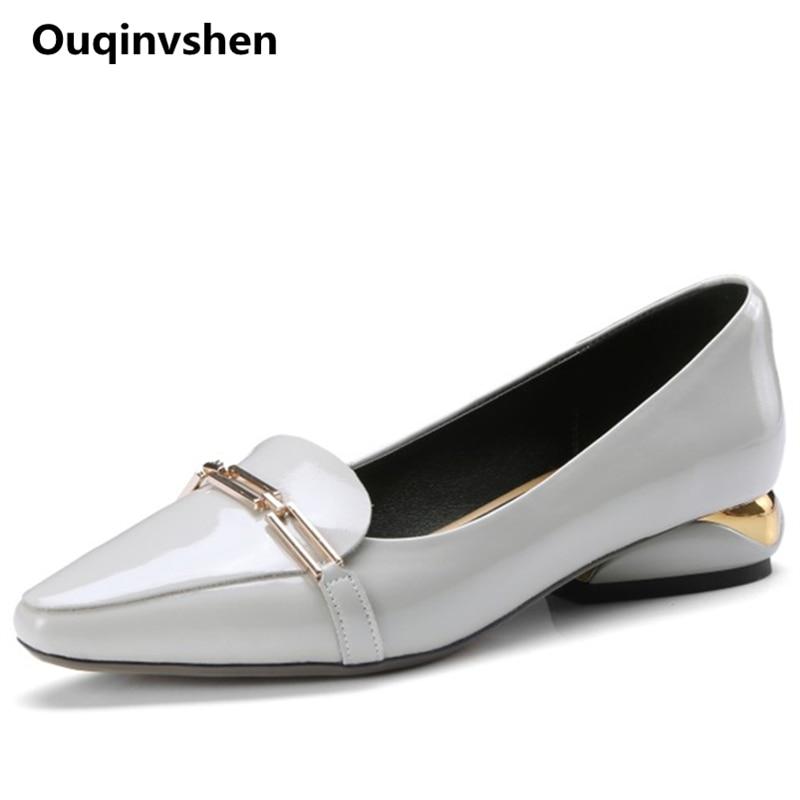 Ouqinvshen金属装飾パンプス女性靴プラスサイズ34 42尖ったつま先オフィスshllowファッション春夏の靴カジュアルかかと  グループ上の 靴 からの レディースパンプス の中 1