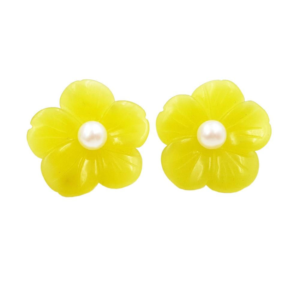 Lii Ji naturel corée Jade fleurs perle d'eau douce 6-7mm 925 boucles d'oreilles en argent Sterling taille environ 27mm pour les femmes
