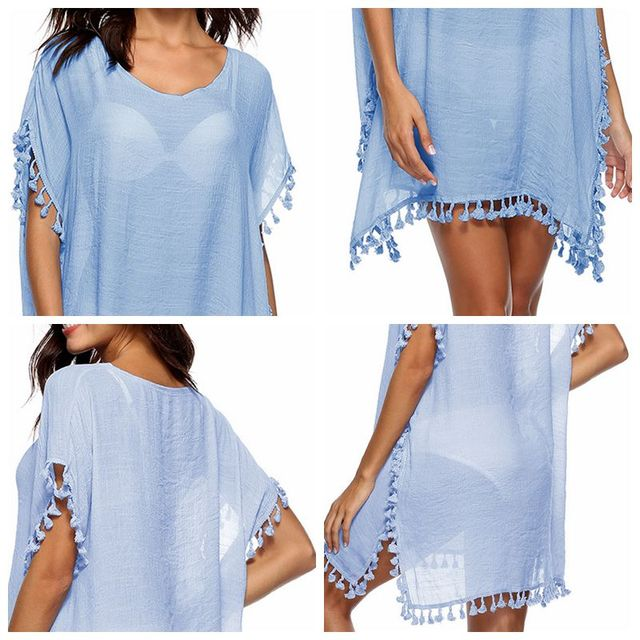 Summer Beach Dress Women Tassel Fringed Loose V-Neck Dresses Female Solid Robes Short Sleeve Sundress Tunic 2019 Sun Block Shawl