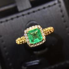 CQT Fine Jewelry G18k Rings Real Diamonds 18K Gold Natural Emerald 0.76ct Gemstones Female Wedding Rings for women Fine Ring