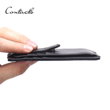 CONTACT'S Thin Wallet Zipper & Hasp Brand Design Genuine Leather Men Wallets With Card Holder Male Purse High Quality