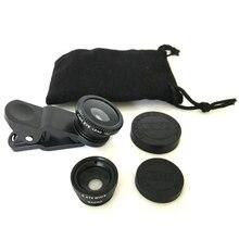 3 в 1 универсальный широкоугольный мобильный рыбий глаз макрообъектив на объектив камеры комплект с зажимом для смартфона планшета ПК