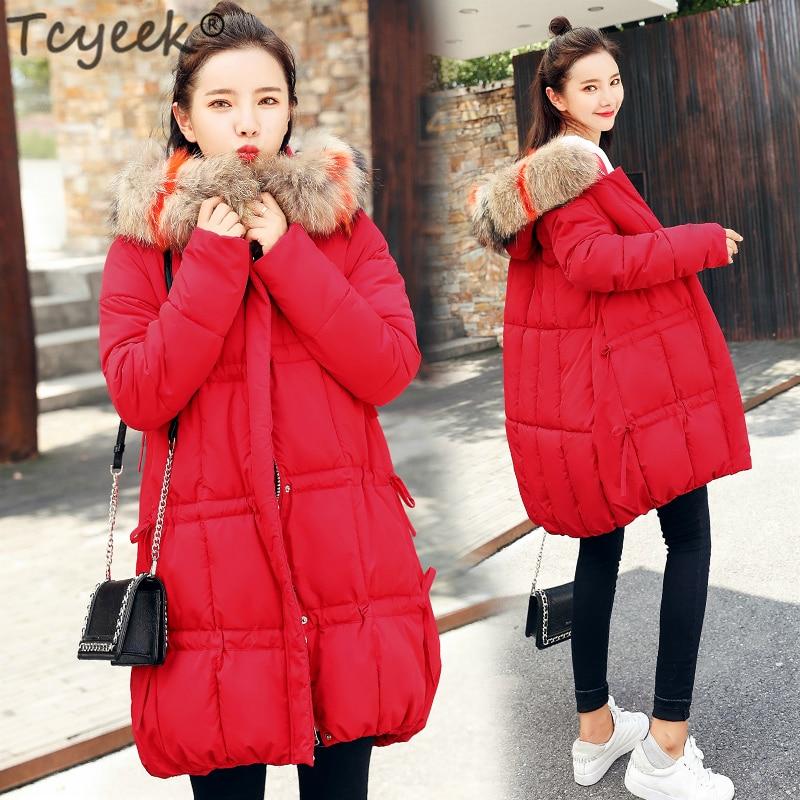 Hiver Tcyeek Lwl993 caramel De Manteau black Chaud Dames Coréenne Style Veste red Capuche Fourrure Parkas Couleur Grand Lâche Femmes Beige Femme Épais À Vêtements dfcfHqwgr