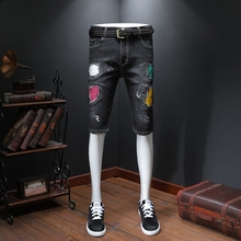 Shorts Denim Men's Graffiti Printed Biker Jeans  Masculino Jeans Skinny Knee Length Homme Zipper Cacual Painted Pants Summer graffiti print side skinny jeans