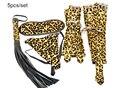 5pcs/set, Bondaque Kit Golden Leopard Line, includes Handcuffs, Fbot Cuffs, Blindfold Mask, G-String,Whip