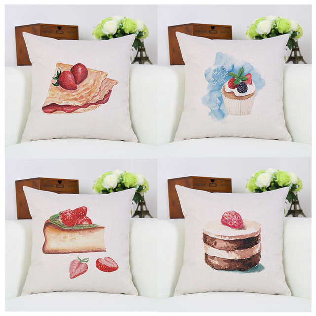 Gentil Decorative Fresh Strawberry Cake Oil Painting Decorative Pillow Cover Linen  Cushion Cover Square Sofa Pillows Case