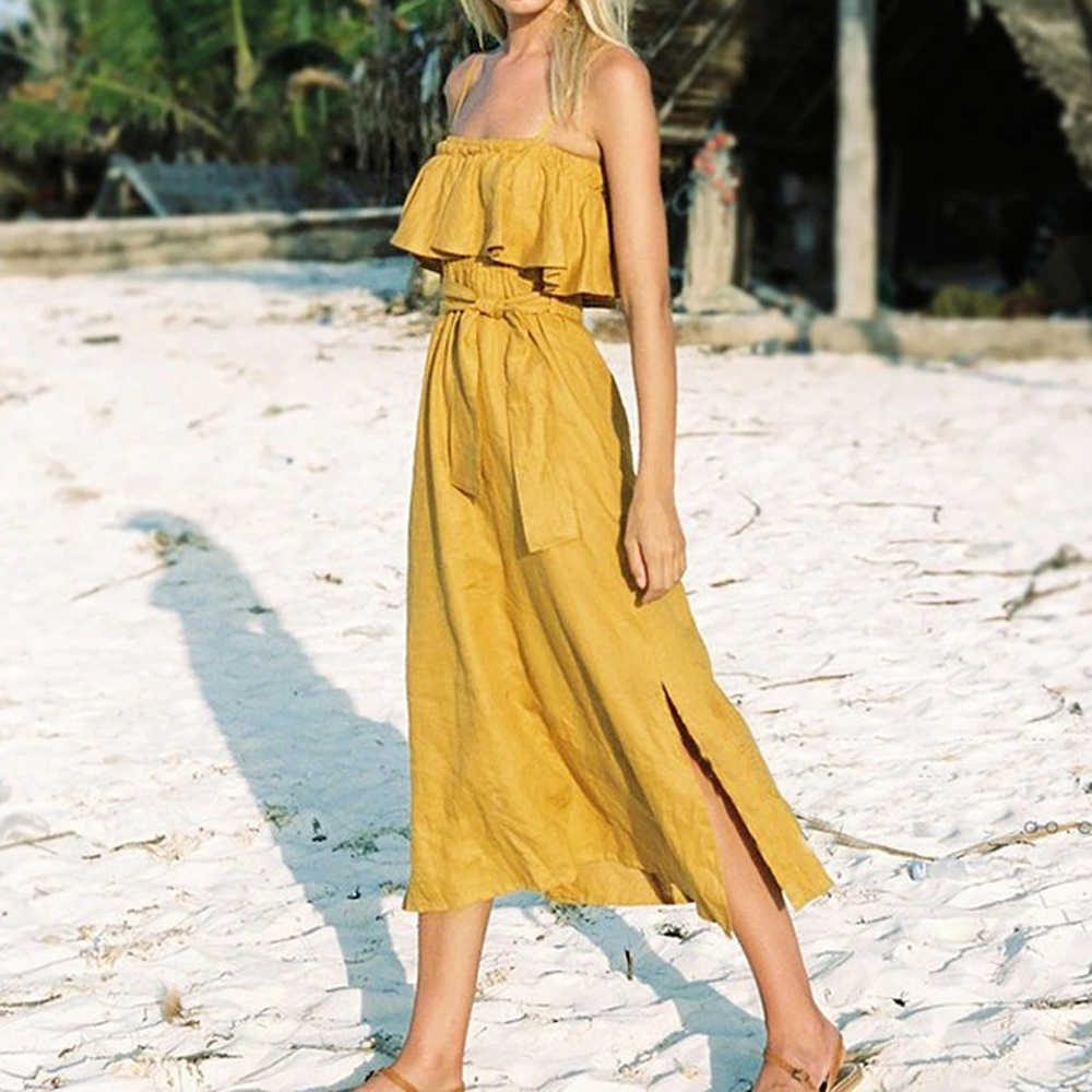AVODOVAMA M Women Elegant Beach Long Dress Summer Ruffles Sexy Strapless Female Dresses Fashion Yellow Colors Clothes