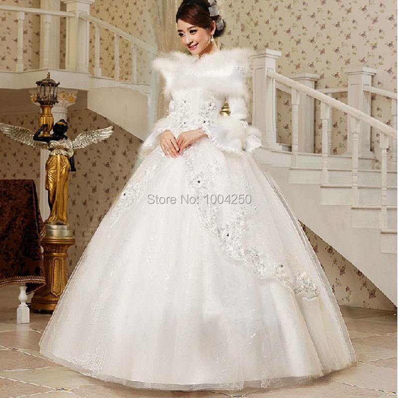 2014 New Arrival Cotton Winter Wedding Dress Fur Collar Long Sleeves ...