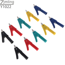 10pcs Fully Insulated Crocodile Alligator Clip with Open 10mm Test Clamp Wire Clip with 4mm Socket Banana Jack battery test lead alligator clips 1 pair fully insulated red black crocodile clips banana plug electrical alligator clamp
