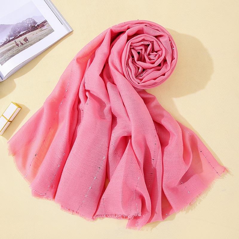 180*100 Women Fashion Bubble Cotton Paillette   Scarf   Shawl Plain   Wrap   Foulard Pashmina Muslim Headband Hijab Solid Color   Scarves