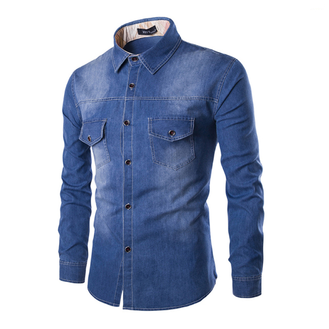 2018 de alta qualidade de algodão Jeans camisas masculinas slim fit sólido  longo camisa jeans de b62a2575a7e3e