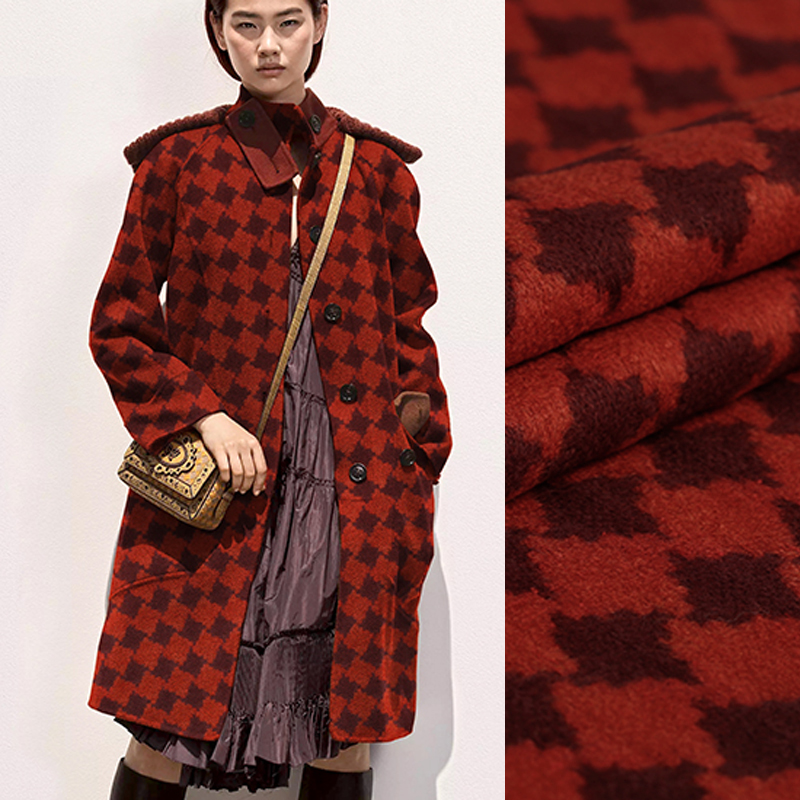 145 CM de large 540 G/M poids rouge carreaux laine Viscose tissu pour automne et hiver manteau veste robe E890