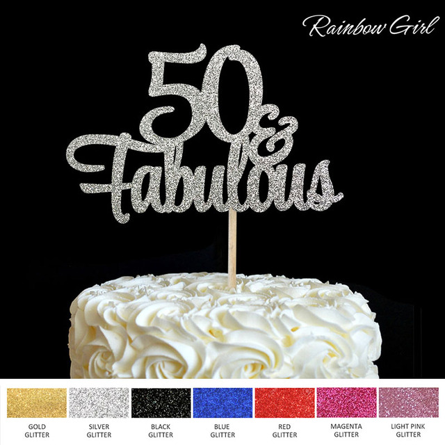 50 Fabulous Cake Topper 50th Birthday Party Decorations Many Colors Glitter Picks Accessory Anniversary