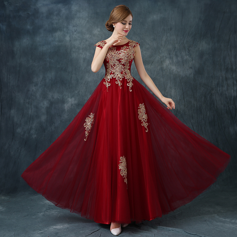 Long Red Lace Evening Dress Formal Party Prom Dinner Gold ...