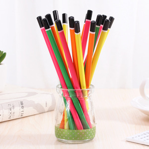 Image 3 - 100pcs wooden pencil candy color triangle pencils with eraser cute kids school office writing supplies drawing pencil graphite