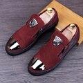 Genuina Masculina de cuero punta estrecha Slip On zapatos Mocasines Moda de Los Hombres Ocasionales de Los Planos de Metal zapatos sapato masculino tendencia Juvenil 022