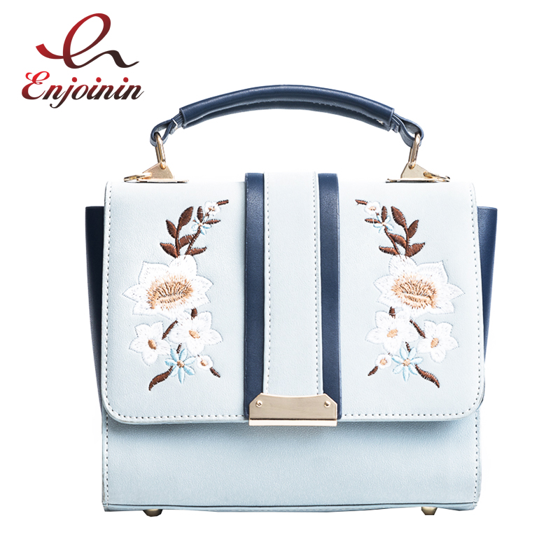 Fashion embroidery flower color canvas shoulder strap ladies shoulder bag handbag female crossbody messenger bag bats bag totes