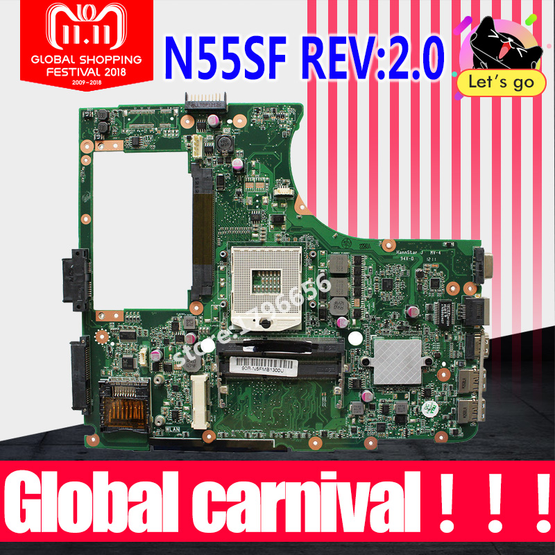 Top quality Laptop Motherboard for ASUS N55SF N55SL N55S REV 2.0 60-N5FMB3600B03 HM65 DDR3 full Tested shipping off Mainboard стоимость