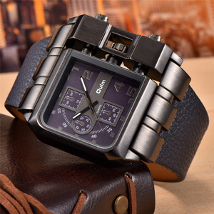 Image 4 - Oulm Brand Original Unique Square Design Men Sport Wristwatch Big Dial Casual PU Leather Strap Quartz Men Watch reloj hombre