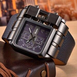 Image 4 - Oulm ブランドオリジナルのユニークなスクエアデザイン男性スポーツ腕時計ビッグダイヤルカジュアル PU レザーストラップクォーツメンズ腕時計リロイ hombre