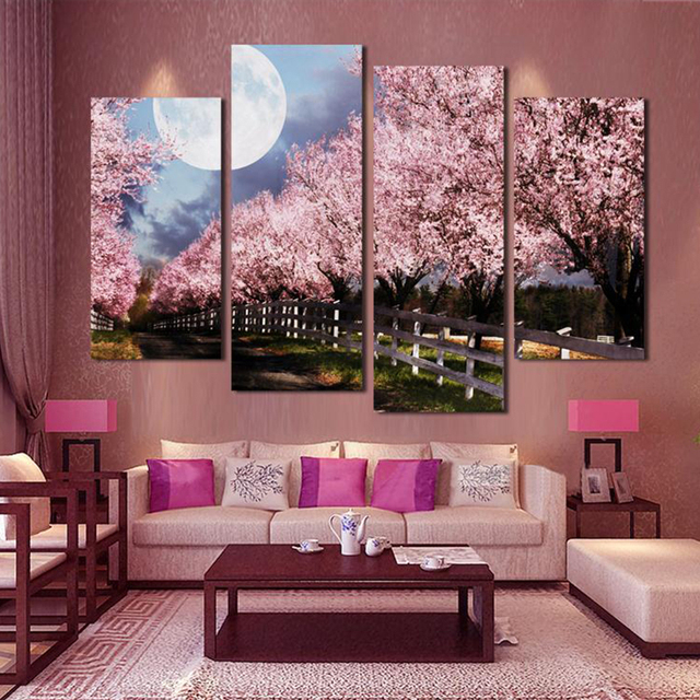 4 Piece Unframed Sakura Wall Art Picture Printed Canvas Oil Painting ...