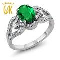 GemStoneKing 2.12 Ct Oval Verde Esmeralda Simulado Anéis Vintage Para As Mulheres 925 Prata Grande Anel de Pedras Preciosas