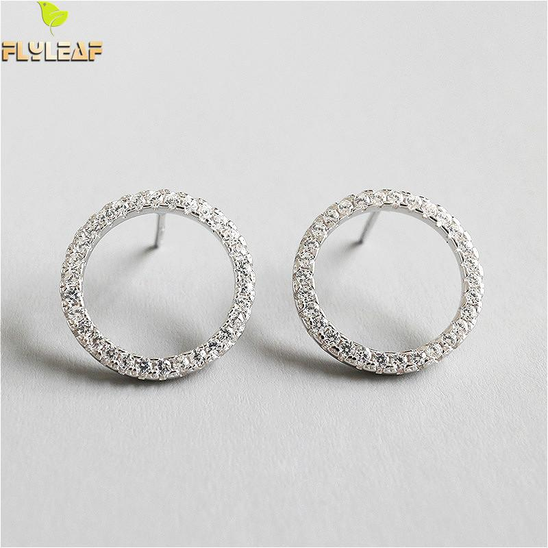 Flyleaf 925 Sterling Silver Stud Earrings For Women Cubic Zirconia Hollow Round Circle Simple Earings Fashion Jewelry Party in Earrings from Jewelry Accessories