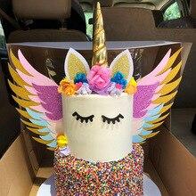 Decoración Para tarta con cuernos de unicornio dorado, decoración para tarta de boda, suministros para fiesta de unicornio, adornos para tarta de Baby Shower