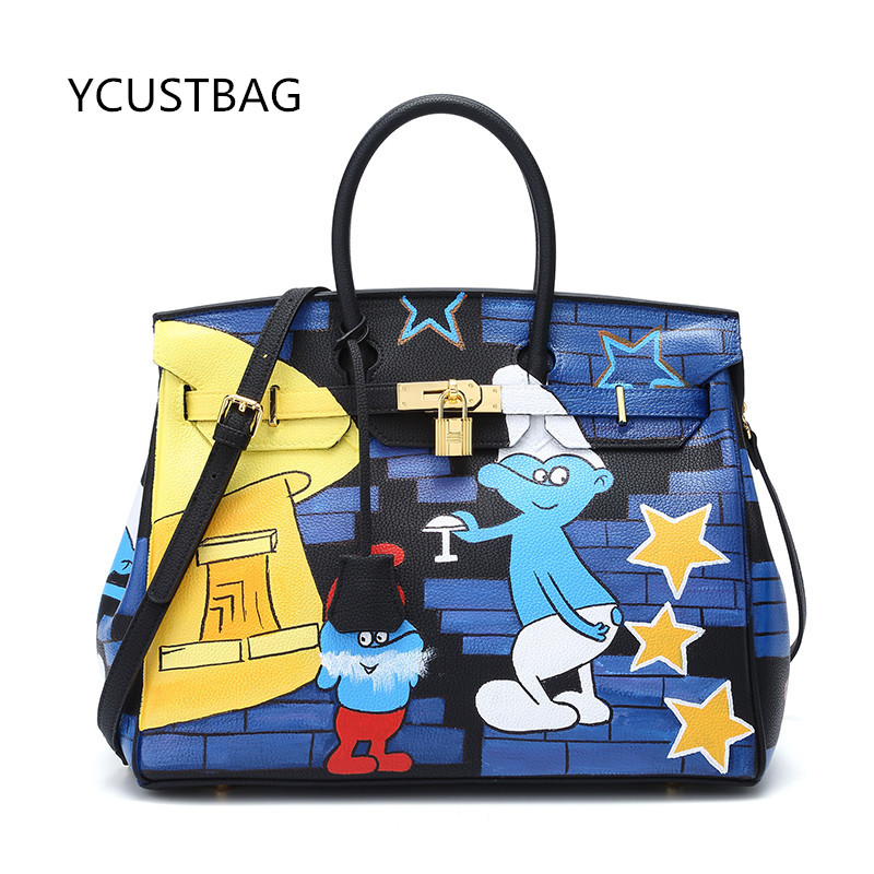 Large Size 25-50cm Women's bag Genuine Leather Graffiti Hand Painting DIY Cartoon Handbags Real learher Christmas Gifts for Lady 2016european high quality original hand drawn cartoon large capacity platinum package 34cm pu leather gold hardware graffiti bag