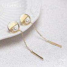 925 Sterling Silver Pearl Geometric Hollow Round Long Chain Strip Stud Earrings Fine Jewelry Women Korean Trendy  Earring Party