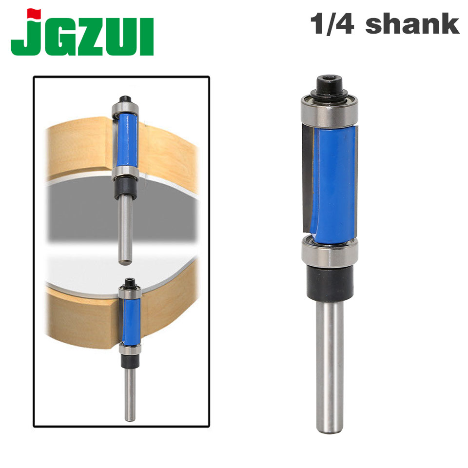 1pcs Flush Trim Router Bit Top & Bottom Bearing 1/4'' Shank Woodworking Tool Woodworking Router Bits