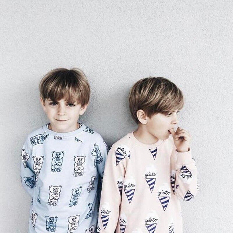 EnkeliBB Clearance Kids Autumn Sweatshirt Cute Bear Pattern Fashion Boys T-shirts Fresh And Handsome Children Tops