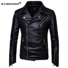 2017 new style Plus size M-5XL Mens punk lapel motorcycle jacket Casual Men's Slim PU Zipper Jackets Fashion men's clothing coat