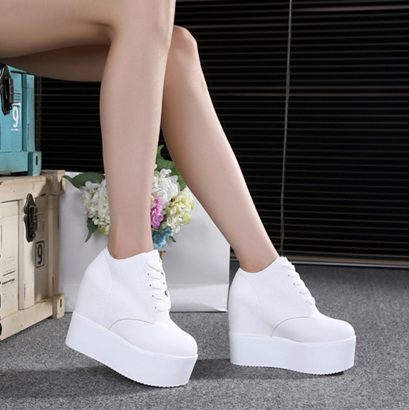 Platform Sneakers Tenis Wedges Female Shoes Feminino Designer Casual Women New 12CM White