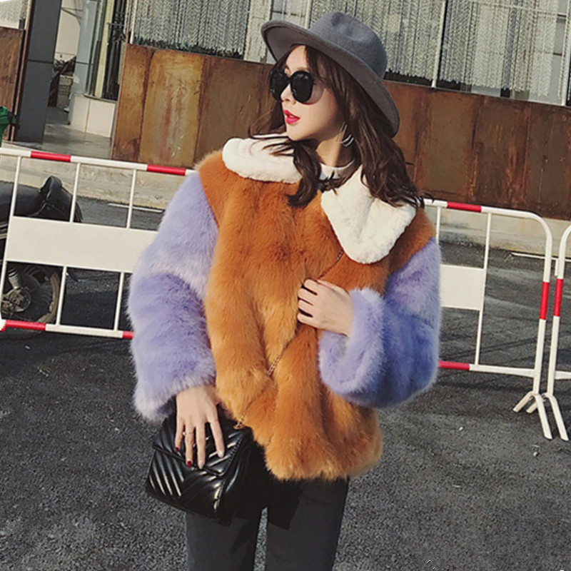 Stylish Contrast colors Hairy Shaggy Faux Fur Coat High quality Women Lapel Faux Fox Fur Short Coats Warm Outerwear 2 colors