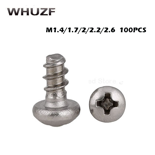 100pcs Cross Round Head self-tapping <font><b>Screws</b></font> M1.4 M1.7 M2 M2.2 <font><b>M2.6</b></font> Stainless Steel Pan Head Flat Tail slot Microelectronic <font><b>Screw</b></font> image
