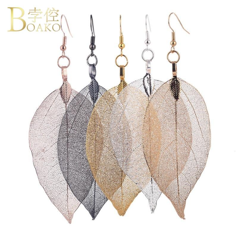 6 Colors 100% Real Leaves Long Tassels Drop Earring For Women 2018 Fashion Luxury Boho Leaf Dangle Earrings Birthday Jewelry Z4