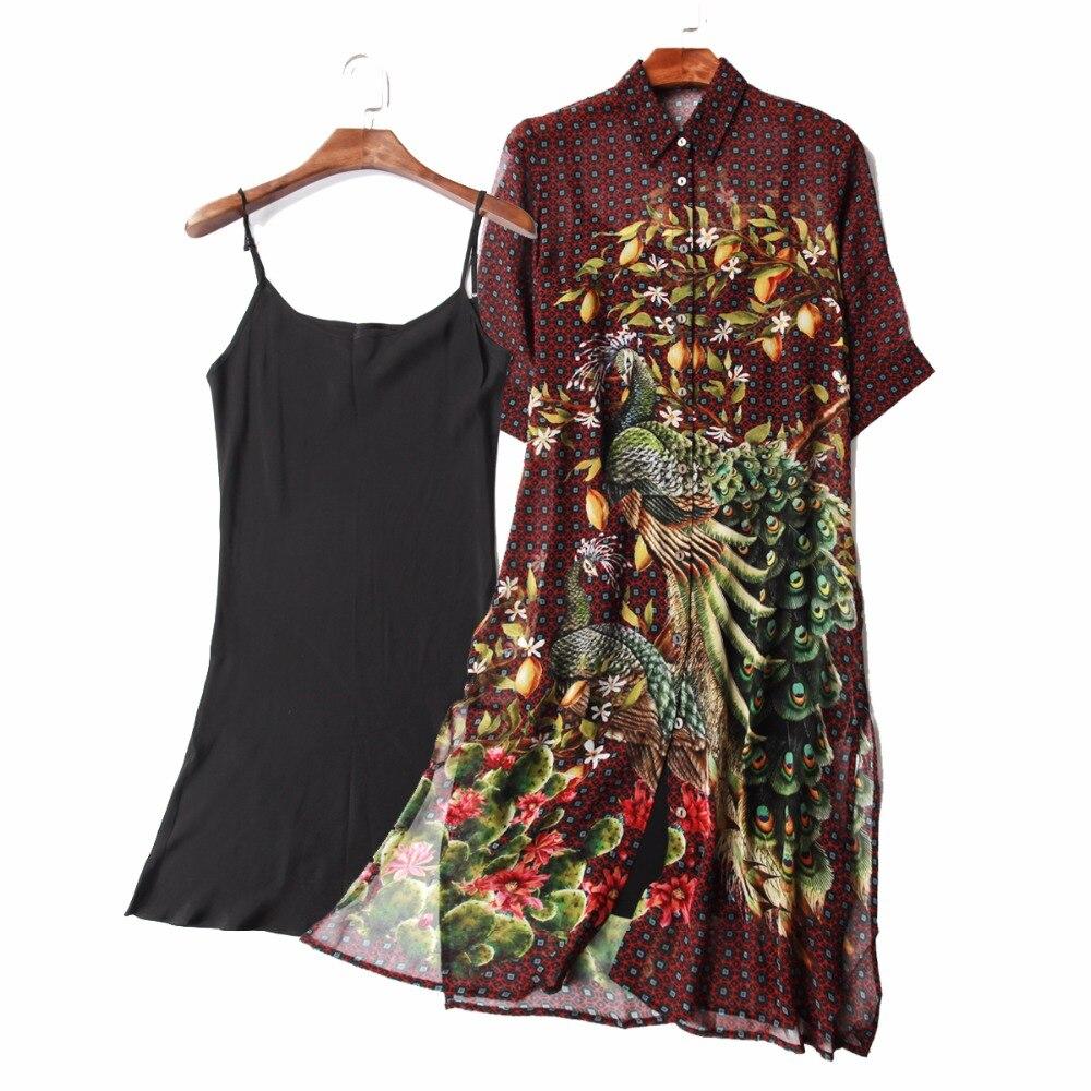 100% Mousseline De Soie Robe Avec soie camisole Femmes Robes D'été Automne Fleur Impression Nouvelle Promotion Usine Directe Gros