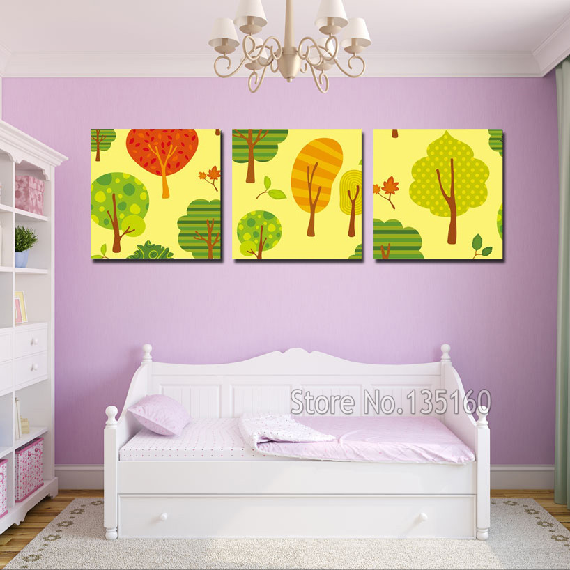 ᐃCartoon Tree Canvas Painting Wall Art Decorative Pictures For Kids ...