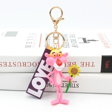 Cute Cartoon Pink Panther Keychain Key Ring For Women Men Lovely Resin Pendant Charms Fit For Bag Purse Accessories цена