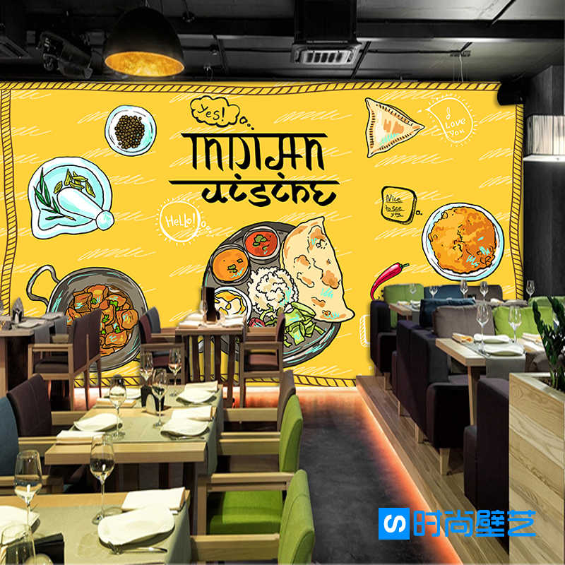 Custom 3d Mural Modern India Food Cultural Wallpaper